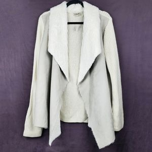 ONE WORLD Taupe Faux Fur Open Front Knit Cardigan